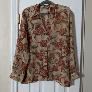 2/$10 Alfred Dunner sheer floral blouse. Sz 18P.